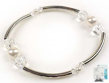 www.beadyourfashion.nl - DoubleBeads Mini Sieradenpakket armband rekbaar, binnenmaat ± 19cm met SWAROVSKI ELEMENTS parels, kralen en metalen accessoires