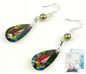 www.beadyourfashion.nl - DoubleBeads Mini Sieradenpakket 925 zilveren oorbellen ± 5,5cm met SWAROVSKI ELEMENTS parels en hangers