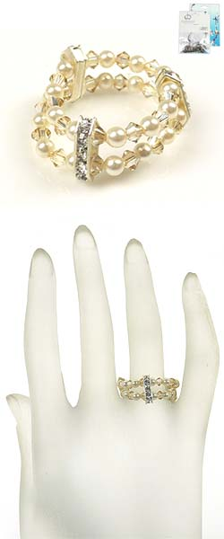 www.beadyourfashion.nl - DoubleBeads Mini Sieradenpakket ring, binnenmaat ± 18mm, met SWAROVSKI ELEMENTS parels, kralen en verdelers