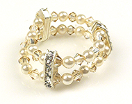 DoubleBeads Mini Jewelry Kit ring, inner size ± 18mm, with SWAROVSKI ELEMENTS pearls, beads and dividers