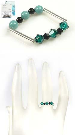 www.beadyourfashion.nl - DoubleBeads Mini Sieradenpakket 925 zilveren ring, binnenmaat ± 17mm, met SWAROVSKI ELEMENTS parels, kralen en 925 zilveren buisjes