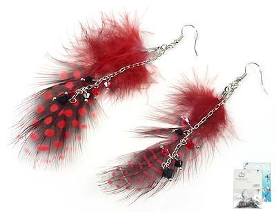 www.beadyourfashion.nl - DoubleBeads Mini Sieradenpakket oorbellen ± 9cm met SWAROVSKI ELEMENTS kralen en veren