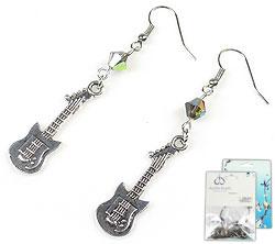 www.beadyourfashion.nl - DoubleBeads Mini Sieradenpakket oorbellen ± 6,5cm met SWAROVSKI ELEMENTS kralen en metalen hangers/bedels gitaar