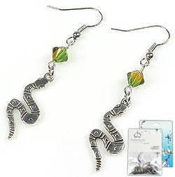 www.beadyourfashion.nl - DoubleBeads Mini Sieradenpakket oorbellen ± 5,5cm met SWAROVSKI ELEMENTS kralen en metalen hangers/bedels slang