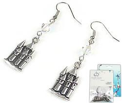www.beadyourfashion.nl - DoubleBeads Mini Sieradenpakket oorbellen ± 5,5cm met SWAROVSKI ELEMENTS kralen en metalen hangers/bedels kasteel
