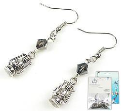 www.beadyourfashion.nl - DoubleBeads Mini Sieradenpakket oorbellen ± 4,5cm met SWAROVSKI ELEMENTS kralen en metalen hangers/bedels lantaarn