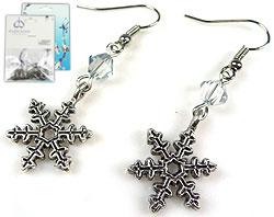www.beadyourfashion.com - DoubleBeads Mini Jewelry Kit earrings ± 4,5cm with SWAROVSKI ELEMENTS beads and metal pendants/charms snow flake