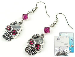 www.beadyourfashion.com - DoubleBeads Mini Jewelry Kit earrings ± 5cm with SWAROVSKI ELEMENTS beads, pointed backs and metal pendants/charms skull with flower