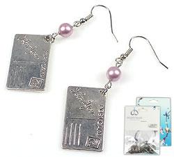 www.beadyourfashion.nl - DoubleBeads Mini Sieradenpakket oorbellen ± 6cm met SWAROVSKI ELEMENTS parels en metalen hangers/bedels kaartje met 'I Love You'