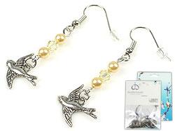 www.beadyourfashion.nl - DoubleBeads Mini Sieradenpakket oorbellen ± 5cm met SWAROVSKI ELEMENTS parels, kralen en metalen hangers/bedels vogel