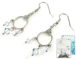 www.beadyourfashion.nl - DoubleBeads Mini Sieradenpakket oorbellen ± 5cm met SWAROVSKI ELEMENTS kralen