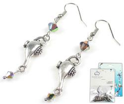 www.beadyourfashion.nl - DoubleBeads Mini Sieradenpakket oorbellen ± 6cm met SWAROVSKI ELEMENTS kralen en metalen hangers/bedels olielamp