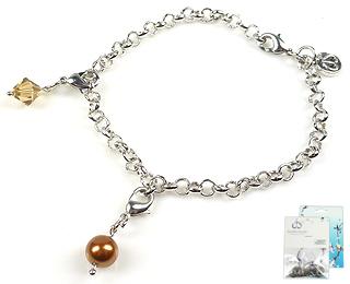 www.beadyourfashion.nl - DoubleBeads Mini Sieradenpakket bedelarmband ± 20cm met SWAROVSKI ELEMENTS parel, kraal en metalen accessoires