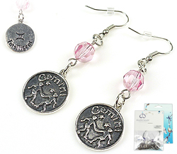 www.beadyourfashion.com - DoubleBeads Mini Jewelry Kit sign of the Zodiac earrings ± 6cm with SWAROVSKI ELEMENTS beads and metal pendants/charms sign of the Zodiac Gemini