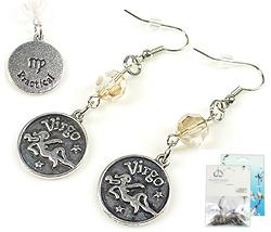 www.beadyourfashion.nl - DoubleBeads Mini Sieradenpakket sterrenbeeld oorbellen ± 6cm met SWAROVSKI ELEMENTS kralen en metalen hangers/bedels sterrenbeeld Maagd