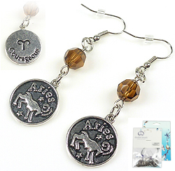 www.beadyourfashion.com - DoubleBeads Mini Jewelry Kit sign of the Zodiac earrings ± 6cm with SWAROVSKI ELEMENTS beads and metal pendants/charms sign of the Zodiac Aries