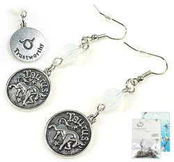 www.beadyourfashion.com - DoubleBeads Mini Jewelry Kit sign of the Zodiac earrings ± 6cm with SWAROVSKI ELEMENTS beads and metal pendants/charms sign of the Zodiac Taurus