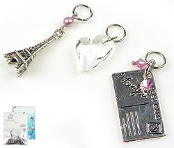 www.beadyourfashion.nl - DoubleBeads Mini Sieradenpakket EasyClip bedels liefde (set van 3 stuks) ± 26-40mm met SWAROVSKI ELEMENTS parel, kralen, hanger en metalen accessoires