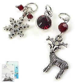www.beadyourfashion.com - DoubleBeads Mini Jewelry Kit EasyClip charms winter (set of 3 pieces) ± 20-42mm with SWAROVSKI ELEMENTS beads, pointed back and metal accessories