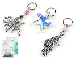 www.beadyourfashion.com - DoubleBeads Mini Jewelry Kit EasyClip charms sea life (set of 3 pieces) ± 25-38mm with SWAROVSKI ELEMENTS beads, pendant and metal accessories