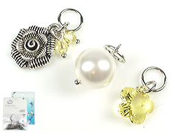 www.beadyourfashion.nl - DoubleBeads Mini Sieradenpakket EasyClip bedels bloemen (set van 3 stuks) ± 20-27mm met SWAROVSKI ELEMENTS parel, kralen, hanger en metalen accessoires