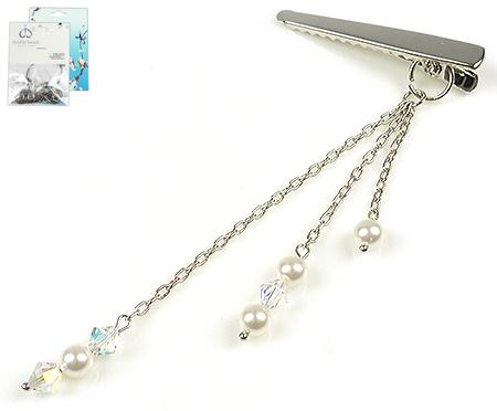 www.beadyourfashion.nl - DoubleBeads Mini Sieradenpakket haarspeld ± 12cm met SWAROVSKI ELEMENTS parels, kralen en metalen accessoires