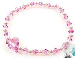 www.beadyourfashion.nl - DoubleBeads Mini Sieradenpakket hartjes armband rekbaar, binnenmaat ± 18cm met SWAROVSKI ELEMENTS parels en kralen