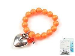 www.beadyourfashion.nl - DoubleBeads Mini Sieradenpakket hartjes ring, binnenmaat ± 18mm, met SWAROVSKI ELEMENTS parels, kraal en metalen kralen