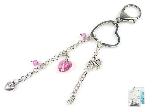 www.beadyourfashion.nl - DoubleBeads Mini Sieradenpakket sleutelhanger ± 16cm met SWAROVSKI ELEMENTS kralen, hanger en diverse metalen accessoires