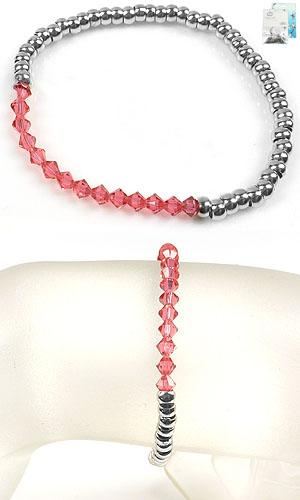 www.beadyourfashion.nl - DoubleBeads Mini Sieradenpakket armband rekbaar, binnenmaat ± 19cm met SWAROVSKI ELEMENTS kralen en diverse metalen accessoires