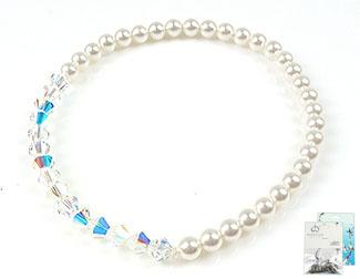 www.beadyourfashion.nl - DoubleBeads Mini Sieradenpakket armband rekbaar, binnenmaat ± 18cm met SWAROVSKI ELEMENTS parels en kralen