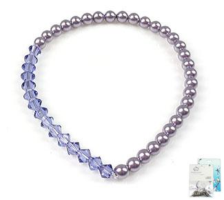 www.beadyourfashion.com - DoubleBeads Mini Jewelry Kit bracelet stretchable, inner size ± 18cm with SWAROVSKI ELEMENTS pearls and beads