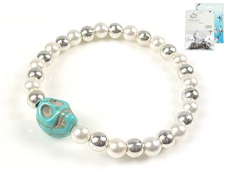 www.beadyourfashion.nl - DoubleBeads Mini Sieradenpakket armband rekbaar, binnenmaat ± 18cm met SWAROVSKI ELEMENTS parels, imitatie turquoise kraal en metalen accessoires