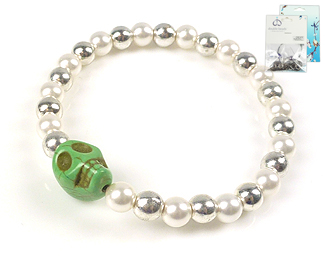 www.beadyourfashion.de - DoubleBeads Mini Schmuckpaket Armband elastisch, Innenmaß ± 18cm mit SWAROVSKI ELEMENTS Perlen, imitation Türkis Perle und Metall Zubehör