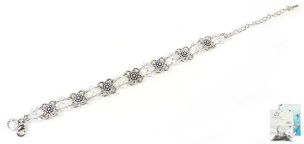 www.beadyourfashion.nl - DoubleBeads Mini Sieradenpakket armband ± 18-26cm met SWAROVSKI ELEMENTS kralen en diverse metalen accessoires