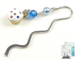 www.beadyourfashion.com - DoubleBeads Mini Jewelry Kit book mark ± 8,5cm with SWAROVSKI ELEMENTS pearl, bead and metal pendant/charm cupcake