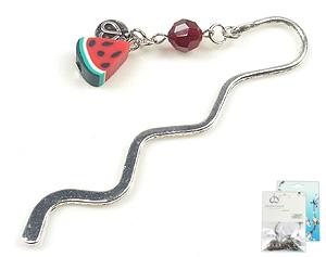 www.beadyourfashion.com - DoubleBeads Mini Jewelry Kit book mark ± 8,5cm with SWAROVSKI ELEMENTS bead and polymer clay bead watermelon