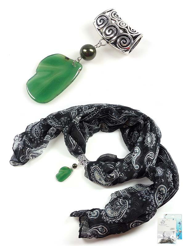 www.beadyourfashion.com - DoubleBeads Mini Jewelry Kit scarf jewelry ± 11cm with SWAROVSKI ELEMENTS pearl, natural stone pendant/charm Agate and various metal accessories
