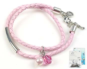 www.beadyourfashion.nl - DoubleBeads Mini Sieradenpakket armband, binnenmaat ± 18-25cm met SWAROVSKI ELEMENTS parel, kraal en diverse andere materialen (o.a. imitatieleer koord en metalen accessoires)