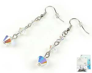 www.beadyourfashion.nl - DoubleBeads Mini Sieradenpakket oorbellen ± 5cm met SWAROVSKI ELEMENTS kralen en metalen accessoires