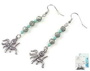 www.beadyourfashion.nl - DoubleBeads Mini Sieradenpakket oorbellen ± 6,5cm met SWAROVSKI ELEMENTS kralen, parels en metalen hangers/bedels octopus