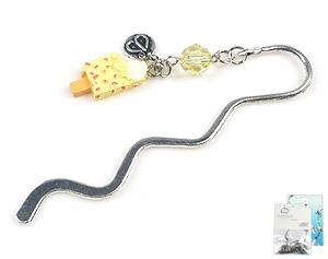 www.beadyourfashion.com - DoubleBeads Mini Jewelry Kit book mark ± 8,5cm with SWAROVSKI ELEMENTS bead and synthetic pendant/charm ice cream
