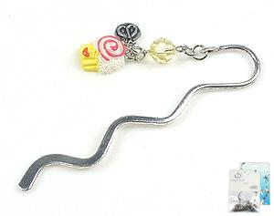 www.beadyourfashion.com - DoubleBeads Mini Jewelry Kit book mark ± 8,5cm with SWAROVSKI ELEMENTS bead and synthetic pendant/charm cupcake