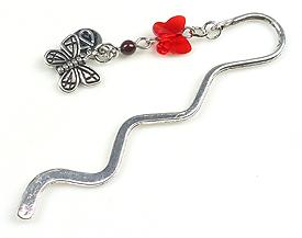 www.beadyourfashion.com - DoubleBeads Mini Jewelry Kit book mark ± 8,5cm with SWAROVSKI ELEMENTS pearl, bead and metal bead butterfly