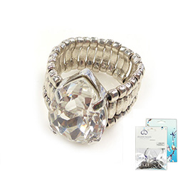 www.beadyourfashion.nl - DoubleBeads Mini Sieradenpakket ring ± 25x19mm, binnenmaat ± 20mm, met SWAROVSKI ELEMENTS Fancy Stone en diverse metalen accessoires
