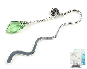 www.beadyourfashion.com - DoubleBeads Mini Jewelry Kit book mark ± 8,5cm with SWAROVSKI ELEMENTS pendant and various metal accessories