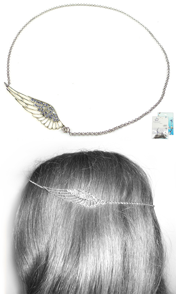 www.beadyourfashion.nl - DoubleBeads Mini Sieradenpakket vleugel haarsieraad ± 55cm met SWAROVSKI ELEMENTS similistenen en diverse metalen accessoires