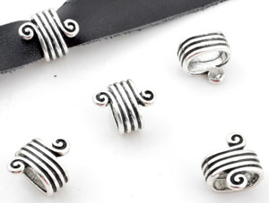 www.beadyourfashion.com - Metal slide-bead decorated with spiral ± 16x14x10mm (hole ± 11x7mm)
